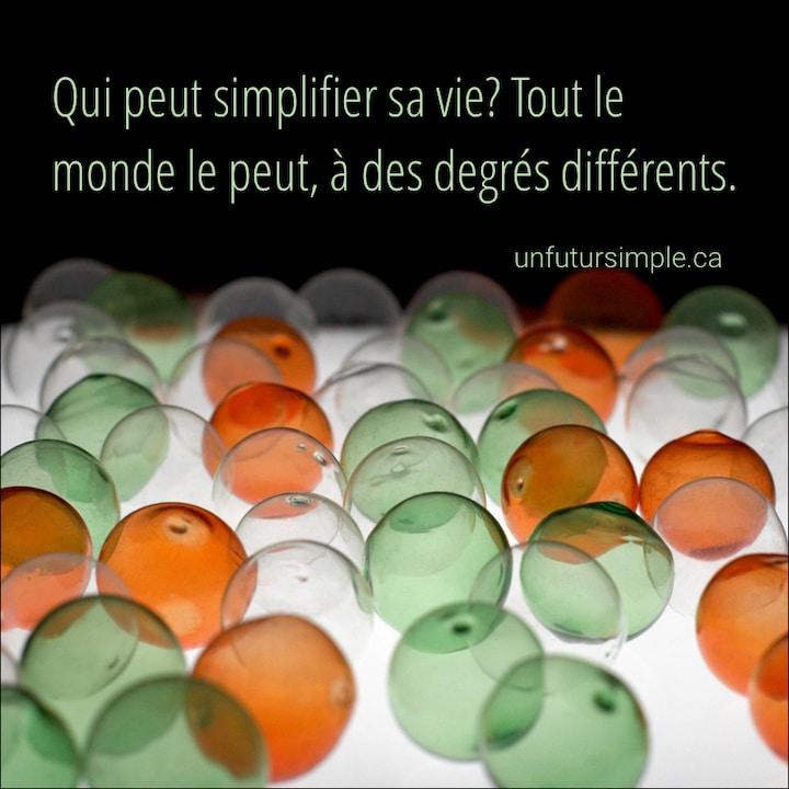 Billes transparentes avec citation: Qui peut simplifier sa vie? Tout le monde le peut, à des degrés différents