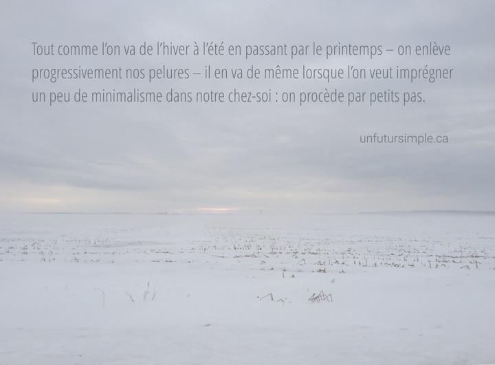 Champ de neige avec citation relative aux petits pas vers le minimalisme: Comme l'on ne passe pas de l'hiver à l'été en enlevant toutes nos pelures d'un coup, il en va de même lorsque l'on se sent dépassé par l'état de notre chez-soi : l'on doit procéder par petits pas.