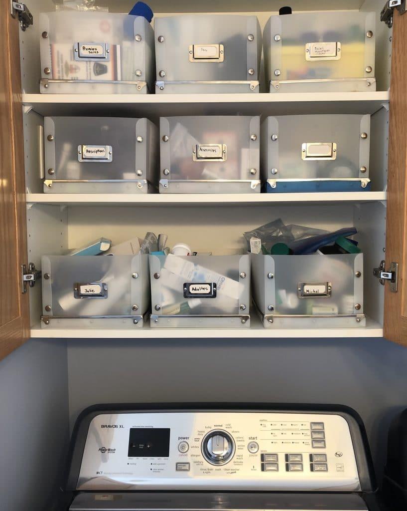 Intérieur d'un cabinet avec des bacs d'organisation identifiés sur les tablettes au-dessus d'une laveuse