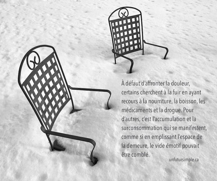 Citation relative à accumulation compulsive : À défaut d'affronter la douleur, certains cherchent à la fuir en ayant recours à la nourriture, la boisson, les médicaments et la drogue. Pour d'autres, c'est l'accumulation et la surconsommation qui se manifestent, comme si en emplissant l'espace de la demeure, le vide émotif pouvait être comblé. Arrière-plan: 2 chaises sous la neige