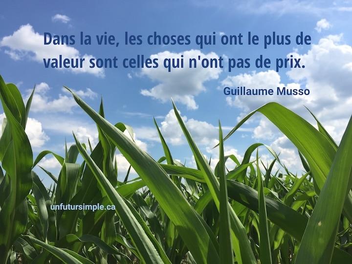 Champ de maïs avec feuilles en avant plan sur un ciel bleu avec nuages; citation de Guillaume Musso : Dans la vie, les choses qui ont le plus de valeur sont celles qui n'ont pas de prix.
