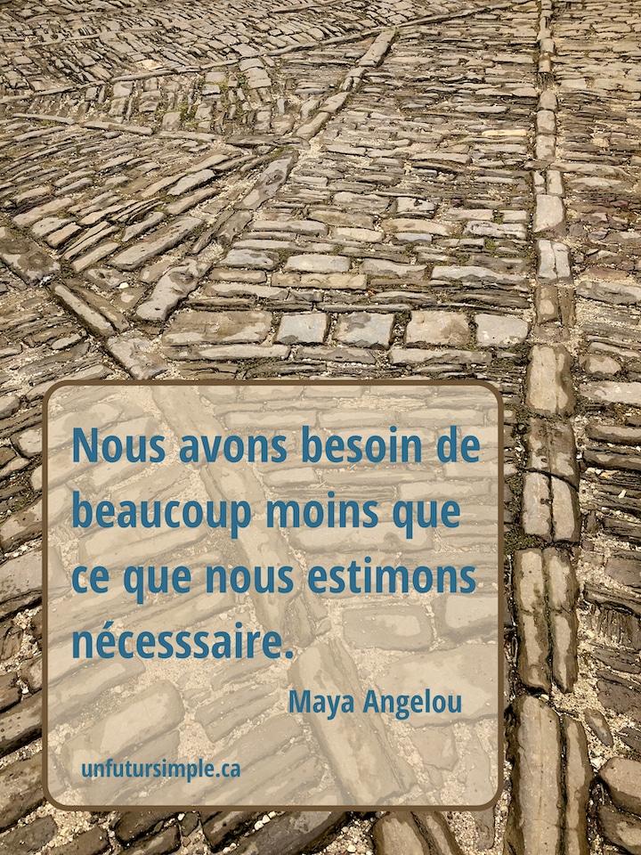 Pavés anciens placés pour indiquer diverses directions; citation de Maya Angelou : Nous avons besoin de beaucoup moins que ce que nous estimons nécessaire.