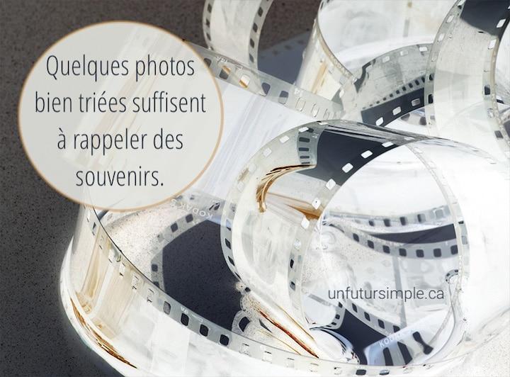 Film traditionnel déroulé avec citation : Quelques photos bien triées suffisent à rappeler des souvenirs.