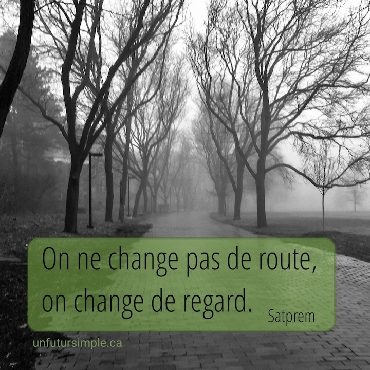 Chemin brumeux longé d'arbres en noir et blanc avec citation de Satprem : On ne change pas de route, on change de regard.