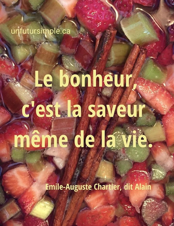 Vue en plongée de morceaux de fraises, rhubarbe et bâton de cannelle qui mijotent avec citation de Émile-Auguste Chartier, dit Alain : Le bonheur, c'est la saveur même de la vie.
