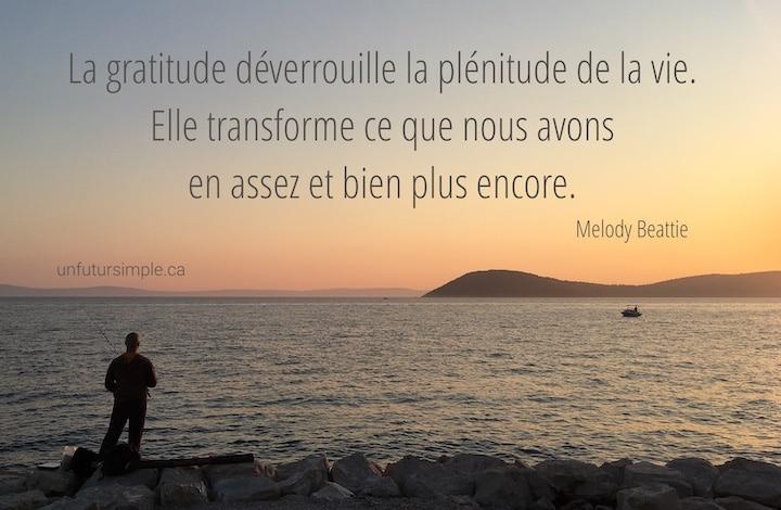 Citation sur la gratitude de Melody Beattie : La gratitude déverrouille la plénitude de la vie. Elle transforme ce que nous avons en assez et bien plus encore. Arrière-plan : Pêcheur à Split au coucher de soleil.