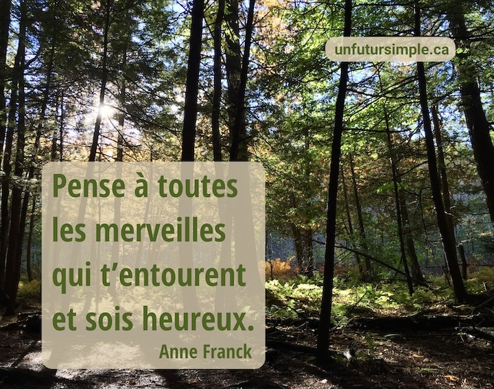 Forêt d'automne éclairée à contre-jour par un soleil lointain; citation de Anne Franck : Pense à toutes les merveilles qui t'entourent et sois heureux.