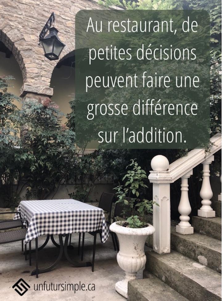 Table à l'extérieur avec citation relative aux sorties au restaurant : de petites décisions peuvent faire une grosse différence sur l'addition.