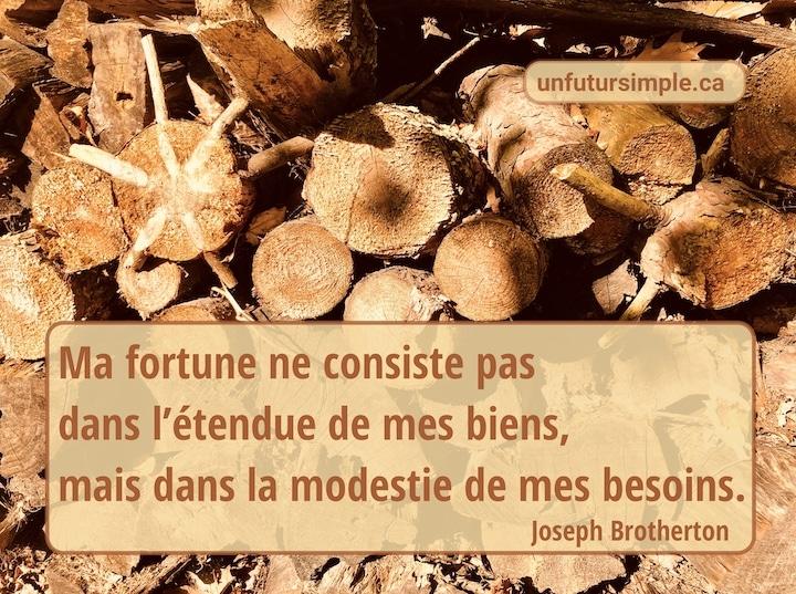 Citation de Joseph Brotherton: Ma fortune ne consiste pas dans l'étendue de mes biens, mais dans la modestie de mes besoins. Arrière-plan: Bûches de bois de chauffage cordées à l'extérieur