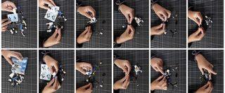Montage de 12 photos montrant des mains construisant un hélicoptère avec des blocs LEGO.