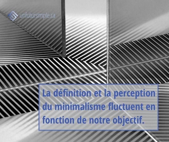 Citation relative à minimalisme selon l'objectif : La définition et la perception du minimalisme fluctuent en fonction de notre objectif. Arrière-plan: reflets en noir et blanc d'une feuille de papier avec rayures dans plusieurs miroirs