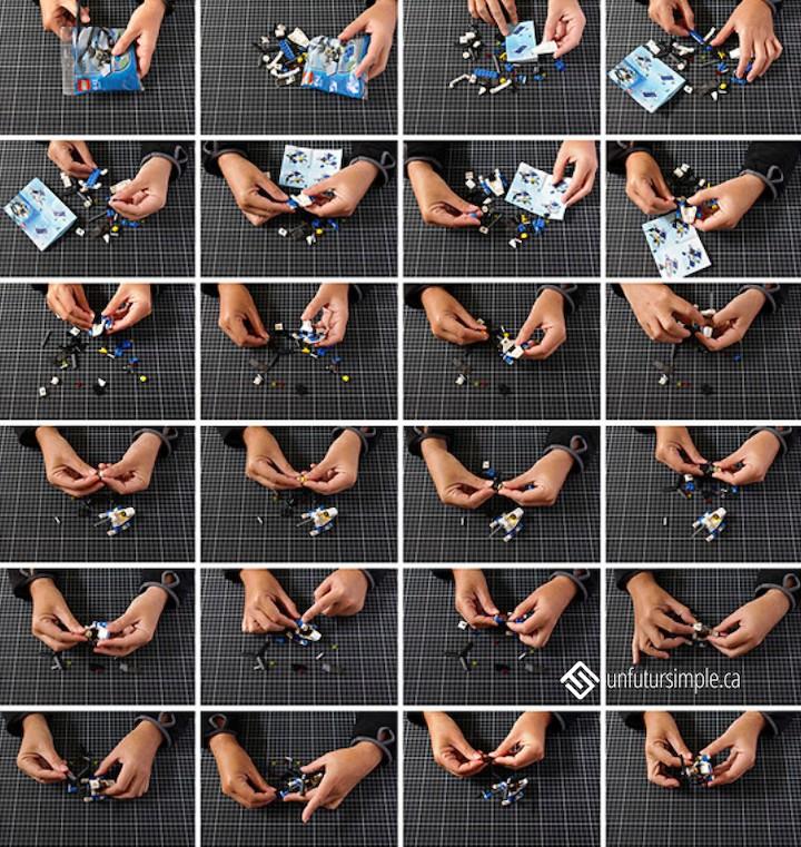 Montage de 24 photos, relatif à trier les jouets, montrant des mains construisant un hélicoptère avec des blocs LEGO.