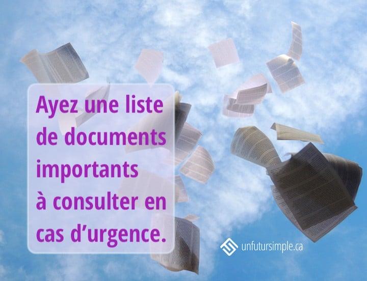 Citation relative à garder des documents: Ayez une liste de documents importants à consulter en cas d'urgence. Arrière-plan: Feuilles de papier lancées en l'air contre un ciel bleu avec nuages blancs