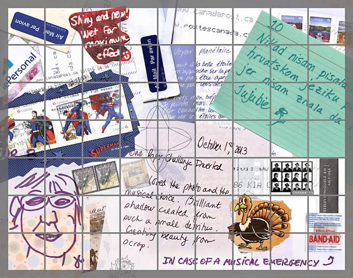 Collage de timbres, enveloppes, lettres et dessins