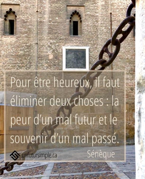 Citation de Sénèque: Pour être heureux, il faut éliminer deux choses: la peur d'un mal futur et le souvenir d'un mal passé. Chaîne en avant plan d'un mur de pierre de cathédrale.