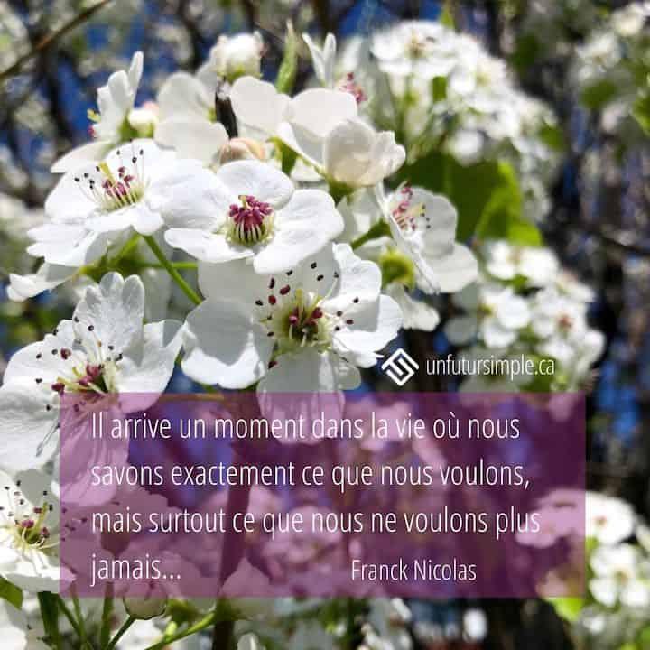 Citation de Franck Nicolas : Il arrive un moment dans la vie où nous savons exactement ce que nous voulons, mais surtout, ce que nous ne voulons plus jamais. Gros plan de fleurs blanches d'un arbre par une journée ensoleillée.