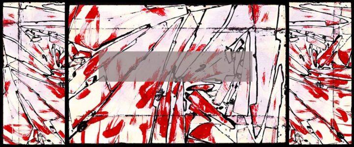 œuvre d'art abstraite de couleurs rouge, blanche et noire de l'artiste Renato Posaić