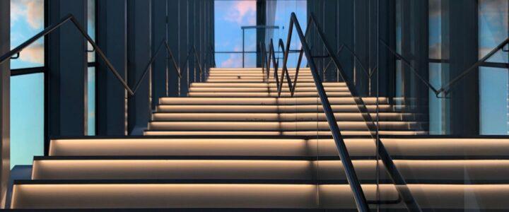 Escalier du Pavillon Pierre-Lassonde du Musée national des beaux-arts du Québec.