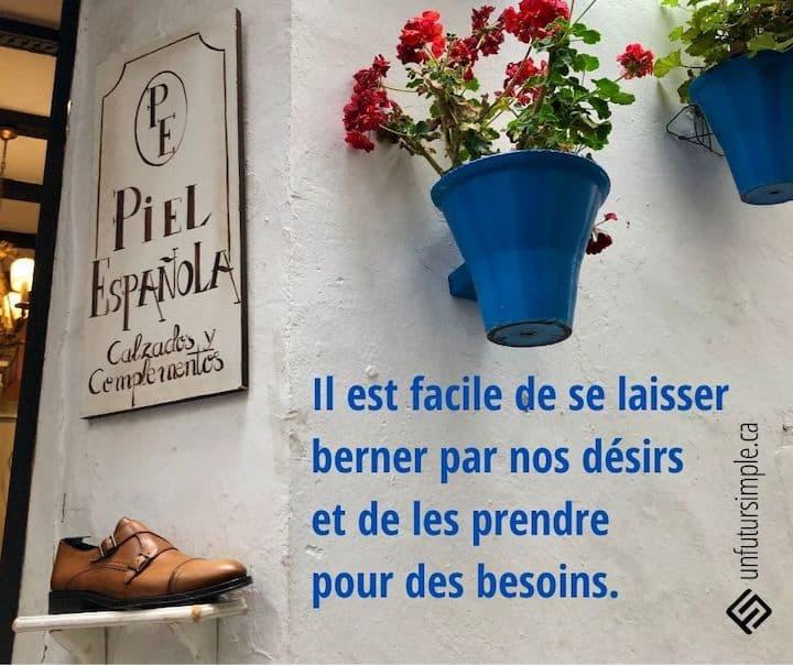 Citation relative à besoin et désir: Il est facile de se laisser berner par nos désirs et de les prendre pour des besoins. Arrière-plan: 2 pots à fleurs bleus sur un mur blanc avec affiche Piel Espanola au-dessus d'un soulier.