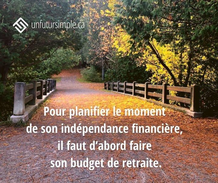 Citation: Pour planifier le moment de son indépendance financière, il faut d'abord faire son budget de retraite. Arrière-plan: Sentier et pont à l'automne.