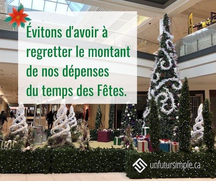 Citation relative aux achats des fêtes: Évitons de regretter le montant de nos dépenses du temps des Fêtes. Arrière-plan: Décor de Noël dans un centre commercial.