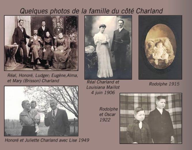 Page d'un livre de photos anciennes de la famille Charland