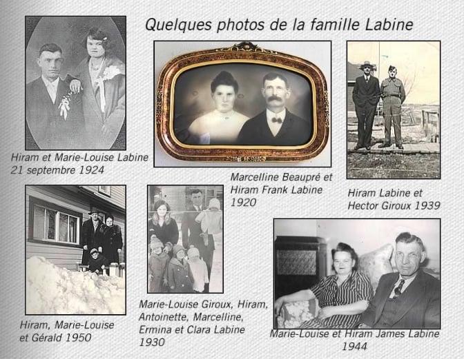 Page d'un livre de photos anciennes de la famille Labine