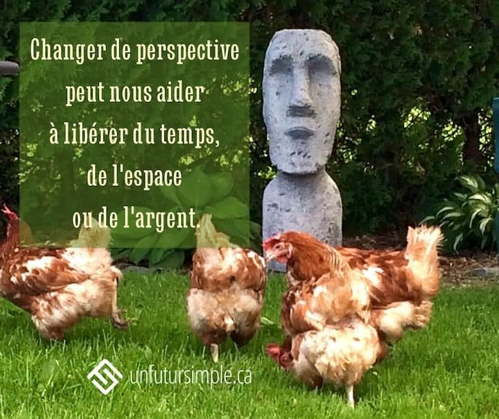 Changer de perspective peut nous aider à libérer du temps, de l'espace ou de l'argent Arrière-plan : Poules devant une réplique de statue de l'île de Pâques