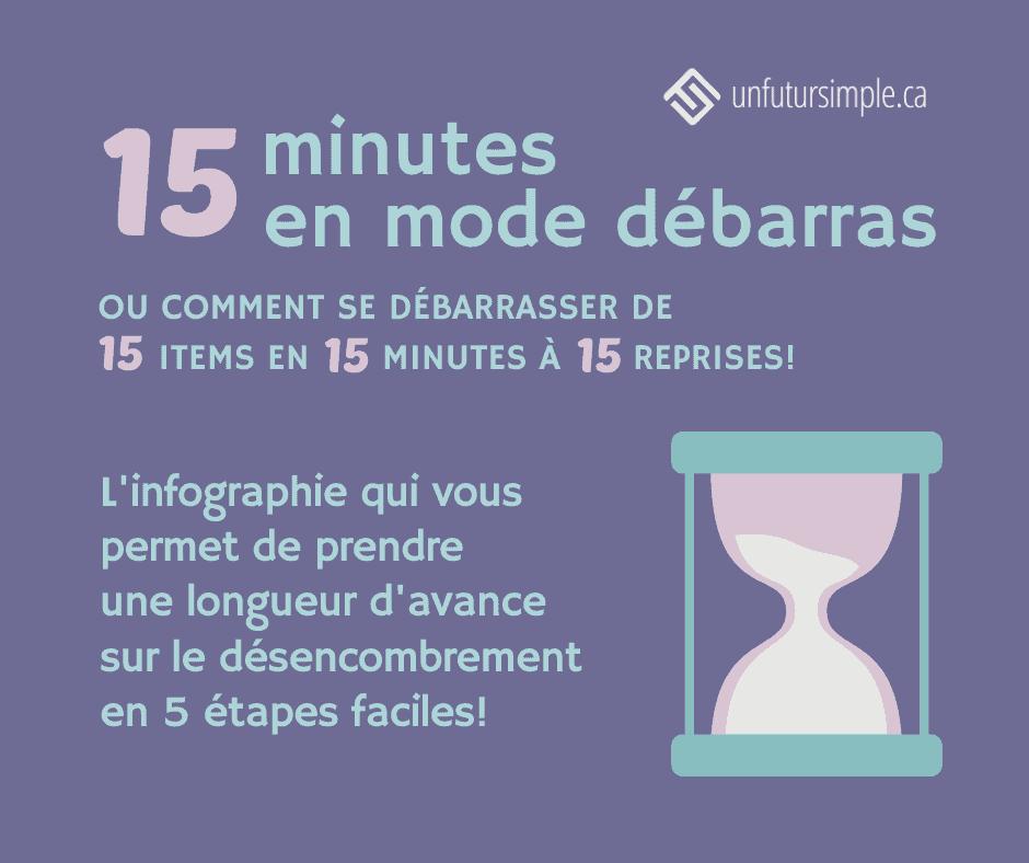 15 minutes en mode débarras ou comment se débarrasser de 15 items en 15 minutes à 15 reprises! L'infographie qui vous permet de prendre une longueur d'avance sur le désencombrement en 5 étapes faciles!