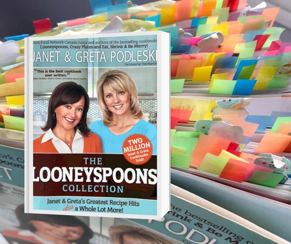 Couverture du livre de recettes The Looneyspoons Collection avec les pages étiquettées en arrière-plan.