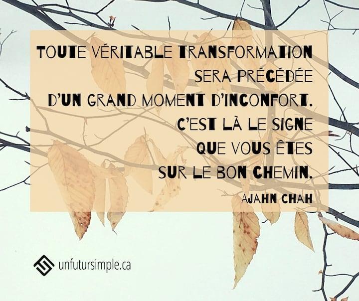 Citation sur la transformation de Ajhan Chah: Toute véritable transformation sera précédée d'un grand moment d'inconfort. C'est là le signe que vous êtes sur le bon chemin. Feuilles mortes suspendues sur des branches sur fond de neige.
