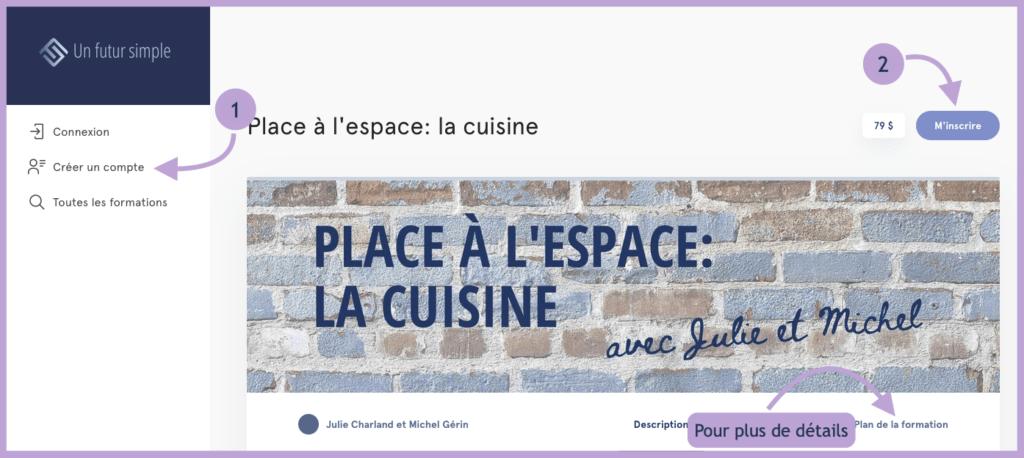 Capture d'écran de la page d'inscription de la formation Place à l'espace: la cuisine