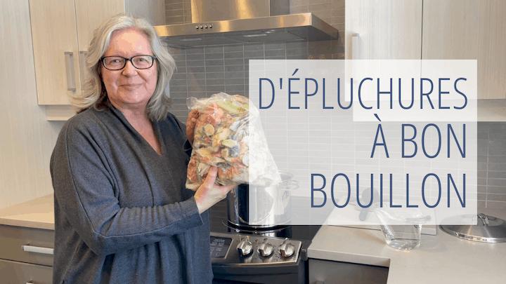 De notre chaîne YouTube : Julie qui annonce la vidéo D'épluchures à bon bouillon
