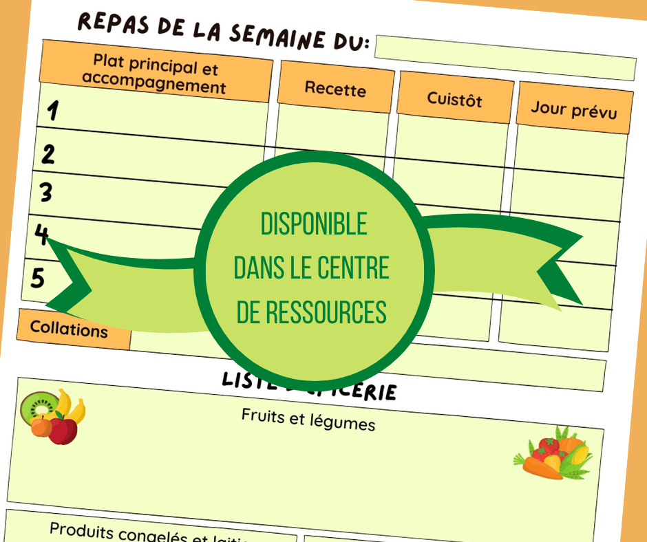 Image de la fiche de planification des repas disponible dans le centre de ressources.