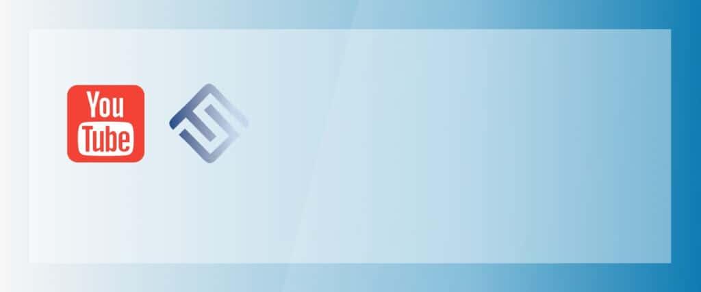 Logos de YouTube et d'Un futur simple sur fond bleu.