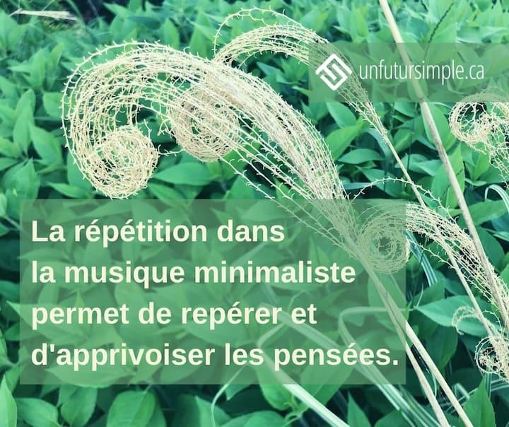 La répétition dans la musique minimaliste permet de repérer et d'apprivoiser les pensées. Arrière-plan: Herbes séchés en spirales sur fond de plantes vertes