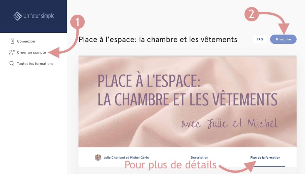 Capture d'écran de la page d'inscription de la formation Place à l'espace: la chambre et les vêtements